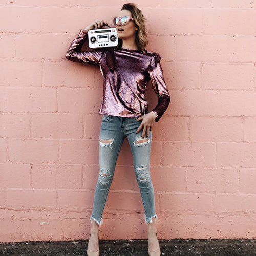 Electric Pink Sequin Top
