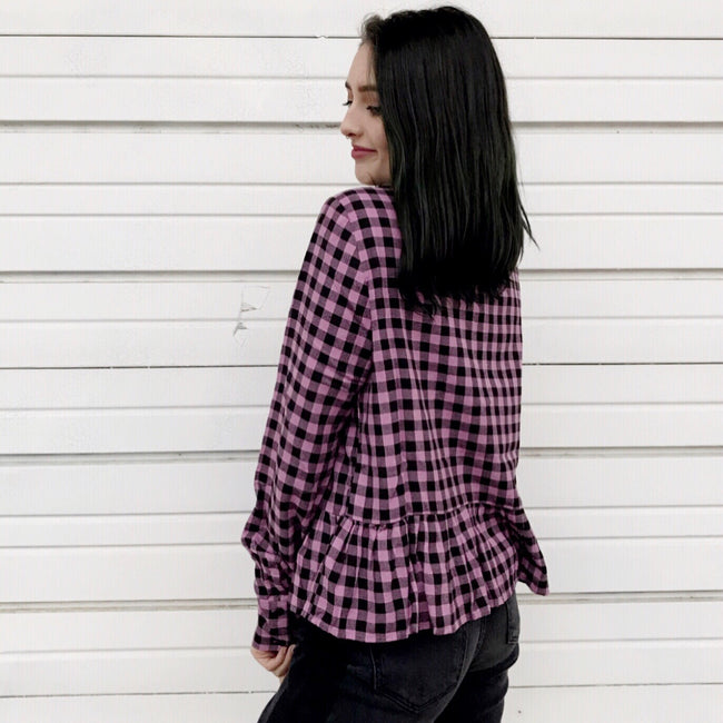 Pink Check Peplum Top
