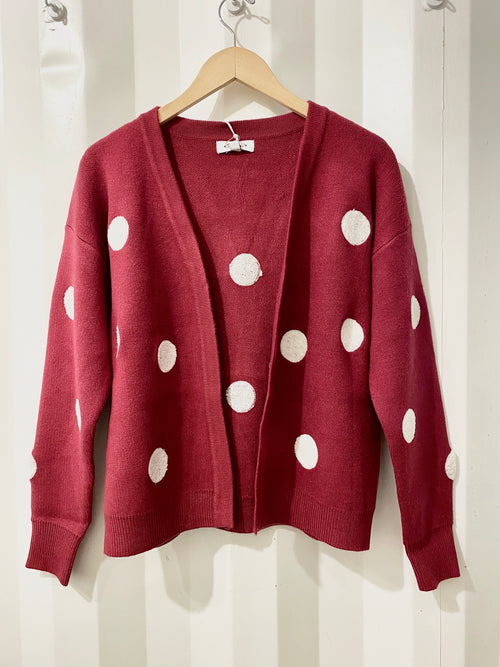 Baby Burgundy Cropped Cardigan