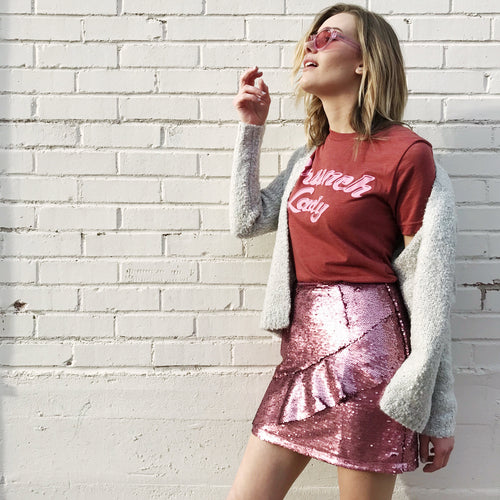 Electric Pink Sequin Skirt