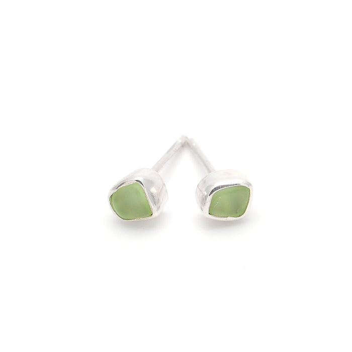 Mini Eco Hand Tumbled Sea Glass Silver Stud Earrings