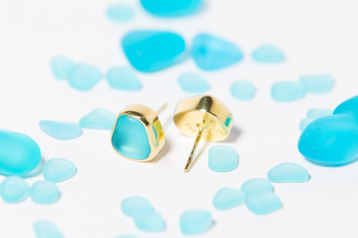Eco Hand Tumbled Sea Glass Gold Stud Earrings