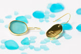 Eco Sea Glass Gold One Drops Dangle Earrings