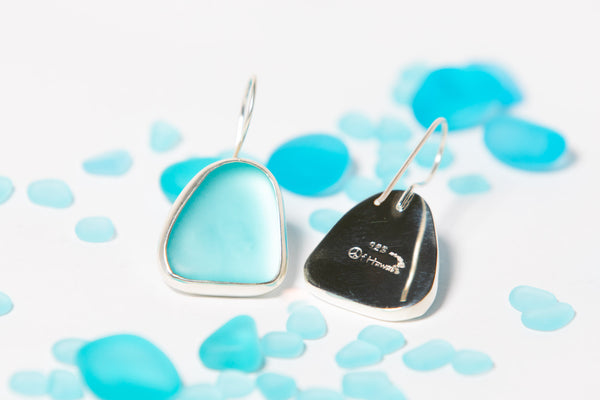 Eco Sea Glass One Drops Dangle Earrings in Aqua
