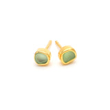 Mini Eco Hand Tumbled Sea Glass Gold Stud Earrings