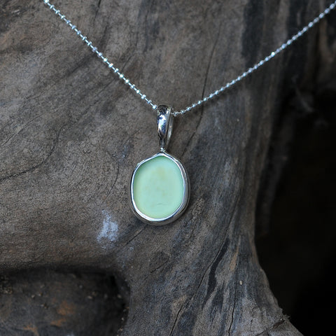 Eco Sea Glass Pendant with Sterling Silver Chain