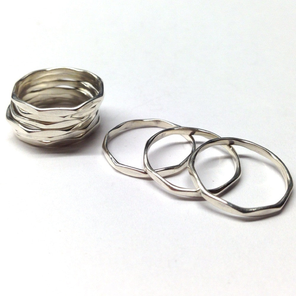 Hammered Accent Spacing Stacking Rings