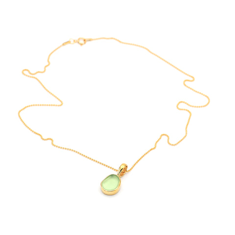 Eco Sea Glass Pendant with Gold Vermeil Chain