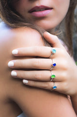 Eco Sea Glass Mini Stacking Rings Sterling Silver