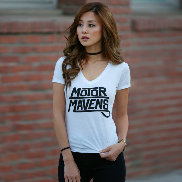 "MotorMavens ""Sharpie Logo"" Womens WHITE V-Neck"