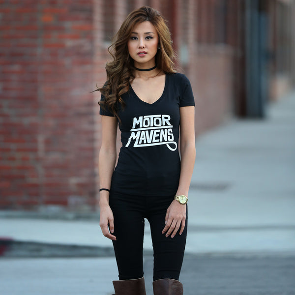 "MotorMavens ""Sharpie Logo"" Womens BLACK V-Neck"