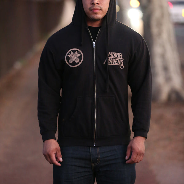 Japanese Arrow Family Crest Zip-Up Hoodie by MotorMavens