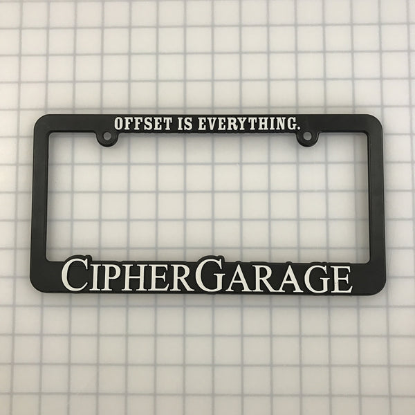 Cipher Garage License Plate Frame - WHITE