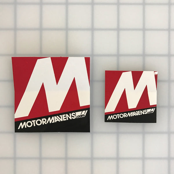 MotorMavens Stickers - 2.75 inch (large) next to 2 inch (small)