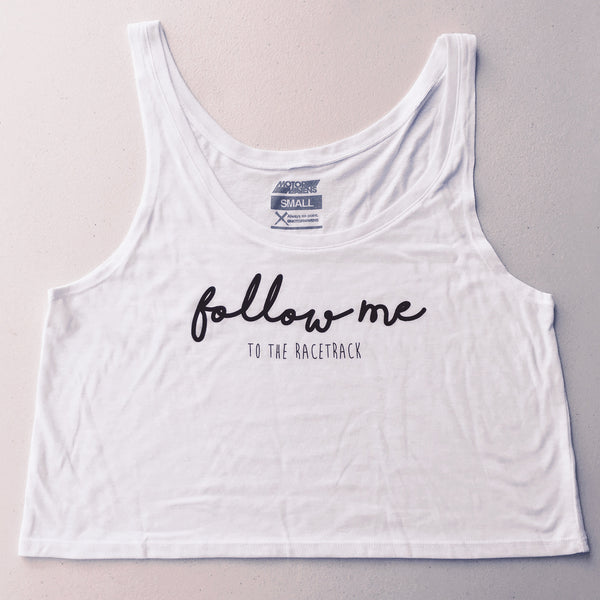 FOLLOW ME To The Racetrack Flowy Boxy Tanktop