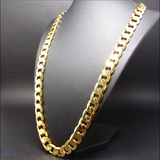 Gold chain necklace 9MM 24K Diamond cut Smooth Cuban Link with a Life Time Warranty, USA made