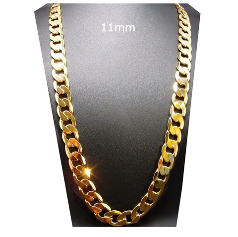 Gold chain necklace 11MM 24K Diamond cut Smooth Cuban Link with a Life Time Warranty, USA made