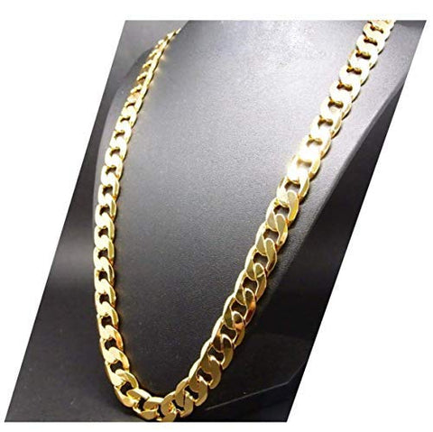 "Gold Cuban Chain Necklace | 10mm Thick Miami Cuban Link | 20X More 24k Plating Than Other Chains for Men - The Look & Feel of Pure Solid Gold - Free Lifetime Replacement 16"" to 30"" inch USA Made!"
