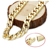 Gold chain necklace 14mm 24Karat Diamond Cut Smooth Cuban Link With A Warranty Of A LifeTIime. USA made!