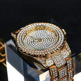24K Gold Luxury Women Watch Crystal Lab Diamond  with Japan Quartz Movement for Women | Simulated Lab Diamonds