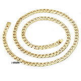 Gold Chain Necklace 7MM 14K Diamond Cut Smooth Cuban Link with a Warranty of A Lifetime USA Made!