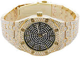 Men's 40mm Iced Out Lab Simulated Diamond Analog Watch with 14k Yellow/White Gold  Metal Band Strap