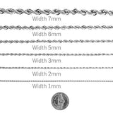 Gold Chain Necklace 3MM Diamond Cut 18Kt White Gold Rope Chain with A Warranty of A Lifetime USA Made!