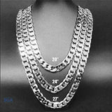 White Gold Cuban Necklace 11mm Diamond Cut Miami Link