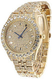 18K Yellow/White Gold Mens Watch w/Matching Bracelet Lab Diamond Iced Out