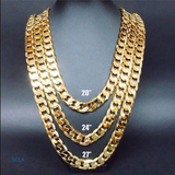 Gold chain necklace 5MM 24K Diamond cut Smooth Cuban Link with a Life Time Warranty, USA made