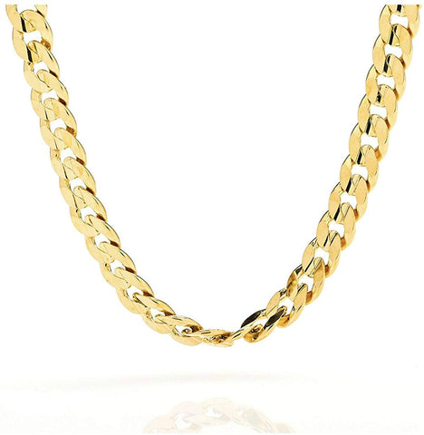 Gold Chain Necklace 9MM 18K Diamond Cut Smooth Cuban Link with a Warrantied, USA Made!New