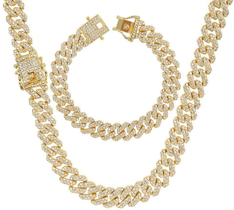 Men's 12MM Strip Chains 18K Gold Plated CZ Fully Iced Out Miami Cuban Necklace Bracelet Set