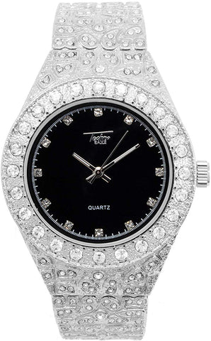 Men's Iced Out 18k White Gold Watch with Lab Simulated Diamonds