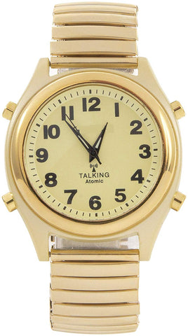 Atomic Talking Watch Sets Itself with a Touch of a Button! Unisex Gold Stretch Band w/Alarm Speaks time, Day, Date and Year. 18K Gold
