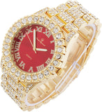 Mens 14k Gold Big Rocks Bezel Bloody-Red Dial with Roman Numerals Fully Lab diamond Iced Out