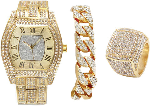 Lab Diamond Bling-ed Out Gold Barrel Shape Hip Hop Watch w/Cuban Bracelet and Bling Ring