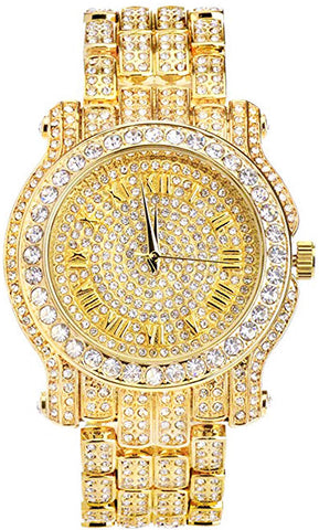 Men's 45mm Iced Out Metal Band Watch, Analog Display w/Simulated Lab Diamond Crystals