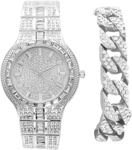 Miami 18k White Gold Cuban Lab Diamond Iced out  Bracelet  and Watch