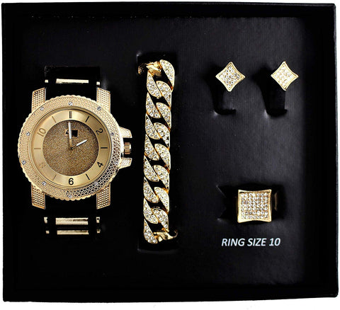 Bling-ed Out Hip Hop Watch & Jewerly Set w/Cuban Chain/ Bracelet/Earrings Lab Stimulated Diamonds