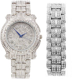 18k White Gold Bling-ed Out Round Luxury Mens Watch w/Bling-ed Out Matching Bracelet