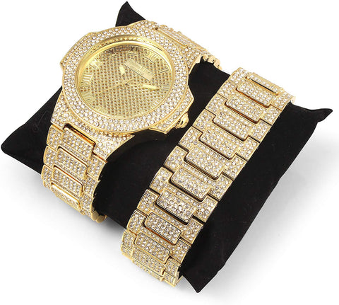 14K Gold Iced Out  Band Watch and Matching Studded Bracelet