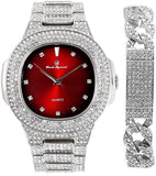 18k White Gold Bling-ed Out Blood Red  Watch with Cuban Bracelet.