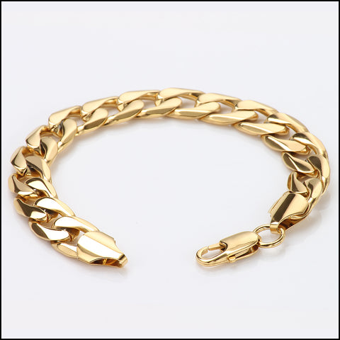 "Gold Bracelet | 9mm Diamond Cut Cuban Link | 2X More Pure 14 ct Gold Plating Than Other Chains for Men - The Look & Feel of Pure Solid Gold - 8 "" & 9 inch USA Made!"