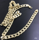 Gold chain necklace 7MM 14K Diamond cut Smooth Cuban Link with a Life Time Warranty, USA made
