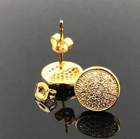 Round 18k gold filled earring with lab simulated diamonds suitable for men/women comes with a warranty.