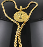 18k Medusa Gold Chain medallion Tarnish Resistant USA Made.