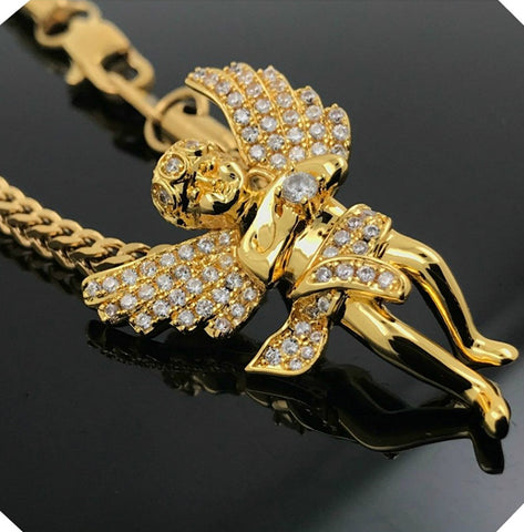 18K GOLDFILLED ANGEL WITH LAB SIMULATED HOLDING STAR