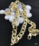 Gold chain necklace 9MM 14K Diamond cut Smooth Cuban Link with a Life Time Warranty, USA made