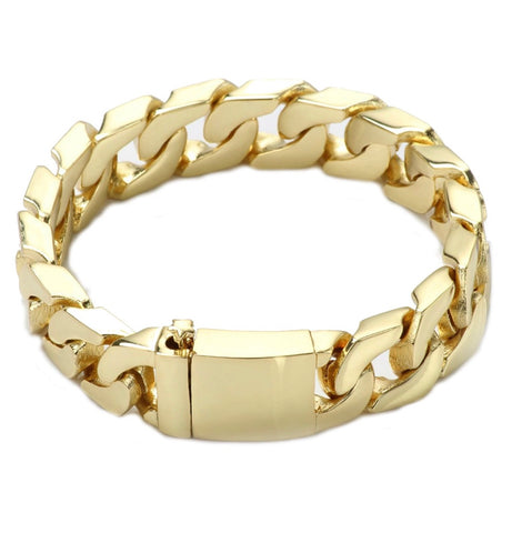 Gold Chain 14K Solid Gold Filled 14MM  Cuban Chain Bracelet, Tarnish Resistant USA Made!