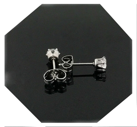 4MM 18k White gold filled earring with lab simulated diamonds suitable for men/women.